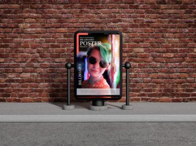 Bricks Environment Free Billboard Poster Mockup