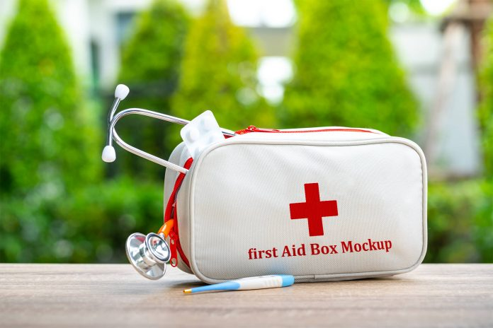 First Aid Bag Free PSD Mockup Template