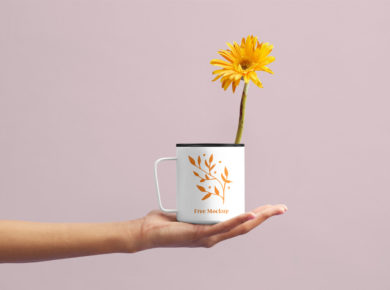 Flower Cup - Free PSD Mockup