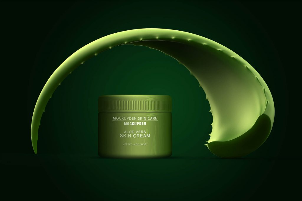 Free Aloe Vera Skin Care Jar Mockup