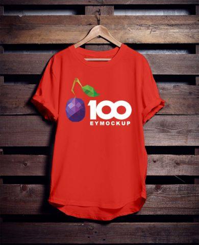 Free Hanging Red T-Shirt Mockup