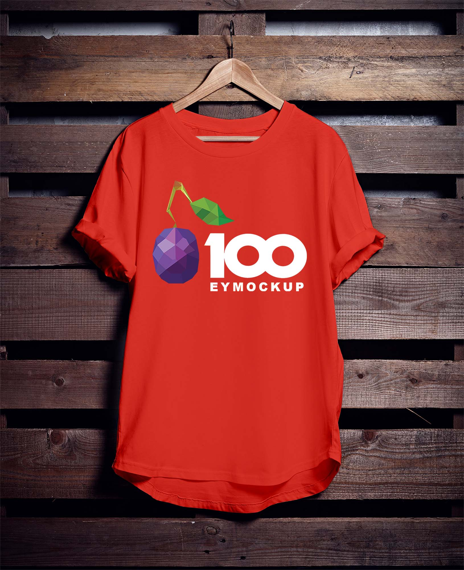 Free Hanging Red T-Shirt Mockup