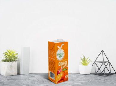 Free Juice Tetra pack Mockup