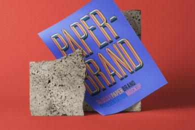 Glossy Paper Brand - Free PSD Mockup