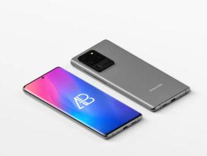 Isometric Samsung Galaxy S20 Ultra Free PSD Mockup