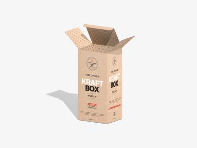Opened Kraft Box - Free PSD Mockup