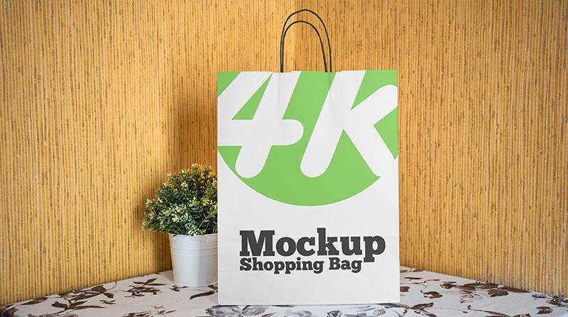 Paper Shopping Bag - Free PSD Mockup
