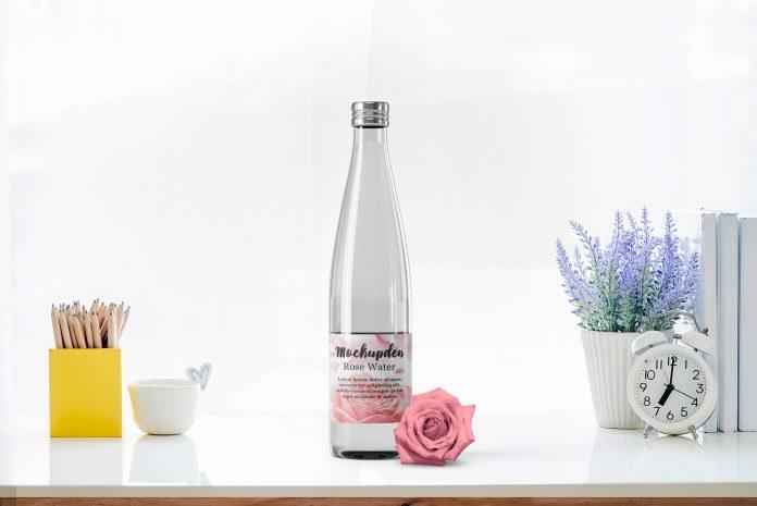 Rose Water Bottle Free PSD Mockup Template