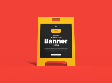 Street Stand Advertising Banner Free PSD Mockup