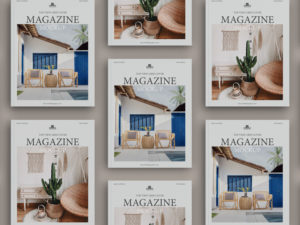 Top View Grid Cover Magazine – Free Mock-ups