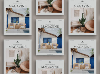 Top View Grid Cover Magazine - Free Mock-ups