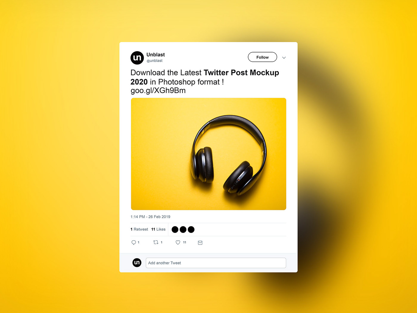 Twitter Post - Free PSD Mockup Template