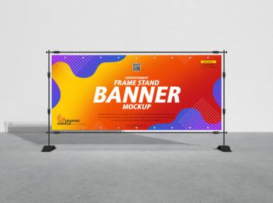 Advertisement Frame Stand Banner Free Mockup