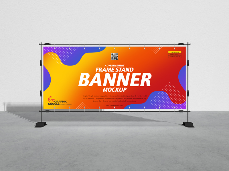 Advertisement Frame Stand Banner Free Mockup