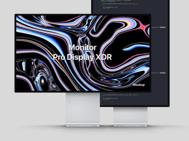 Apple Pro Display XDR Landscape & Portrait Free Mock-ups