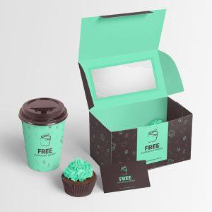Cupcake Packaging Boxes Design Free Mockup