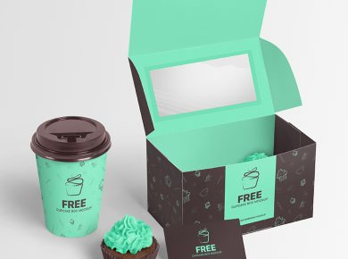 Cupcake Packaging Boxes Design Free Mockup