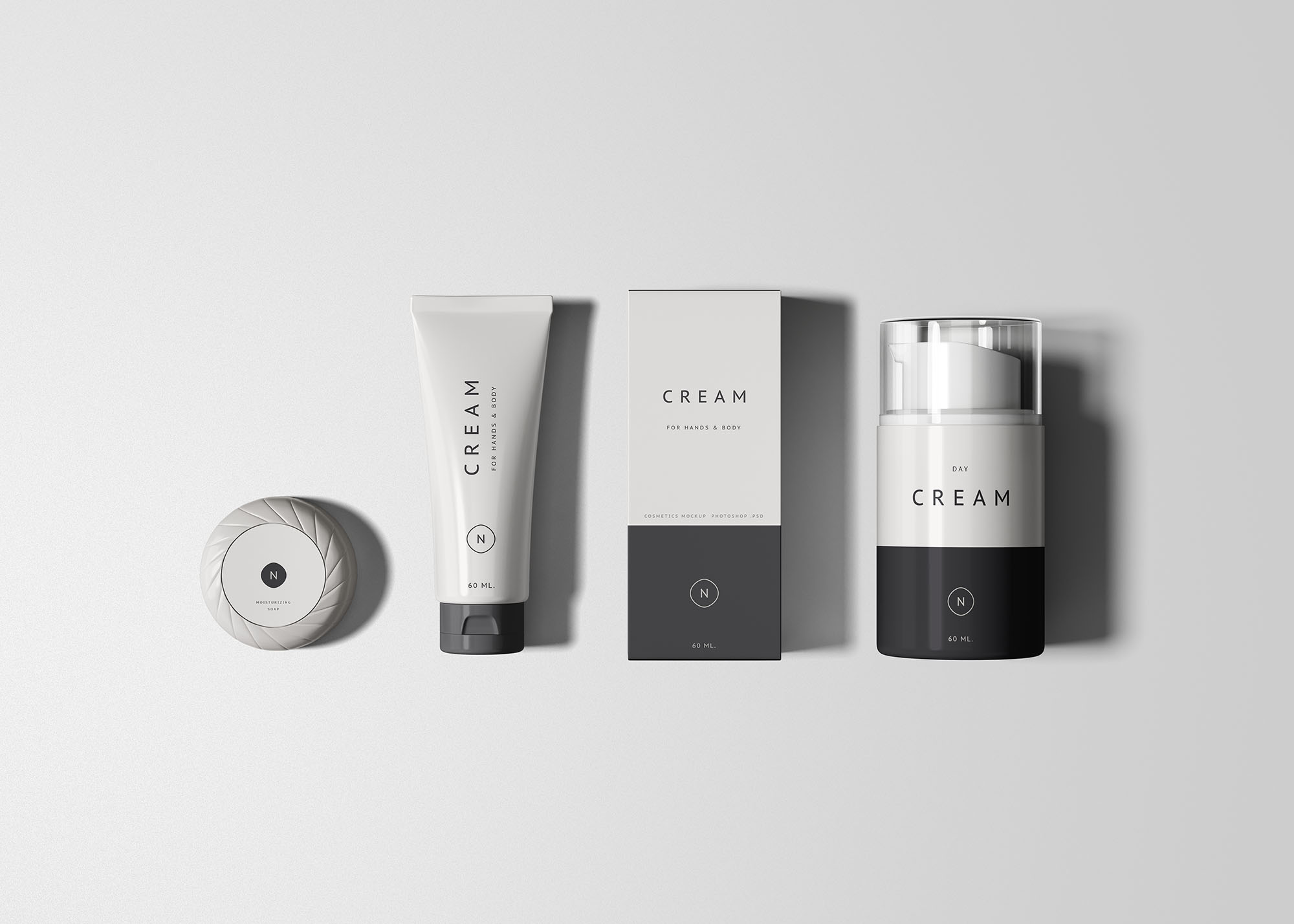 Essential Cosmetics Packaging Set Free PSD Mock-ups