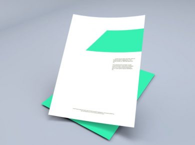 Floating A4 Paper Sheets Free PSD Mockup
