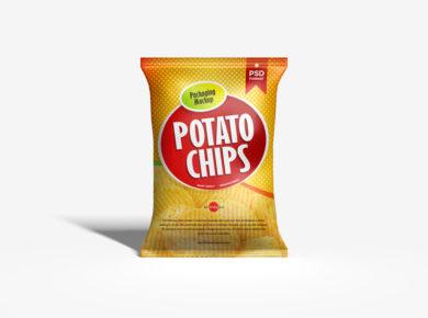 Free Chips Bag Packaging PSD Mockup