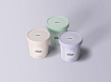 Ice Cream Cups - Free PSD Mockup