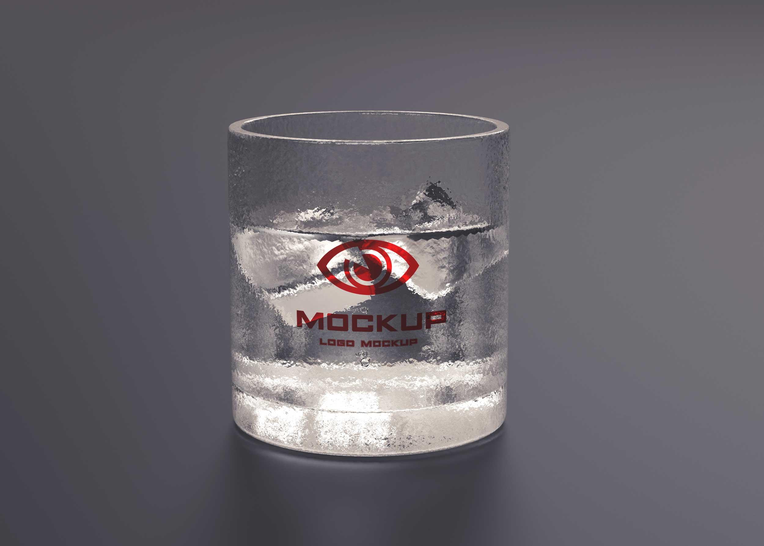 Ice Water Glass - Free PSD Mockup