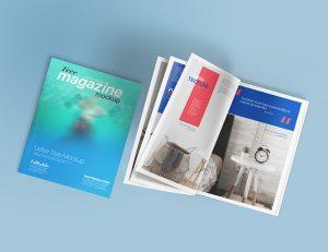 Letter Size Open Magazine Free PSD Mockup
