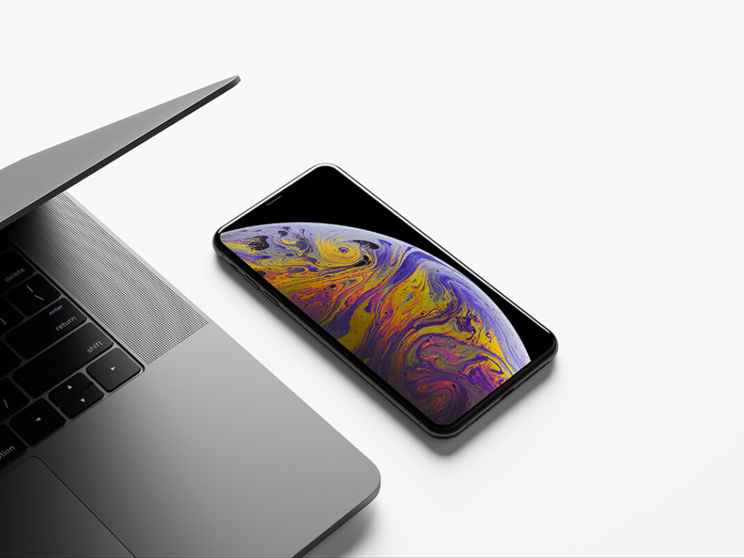 MacBook and iPhone XS Max Free PSD Mockup