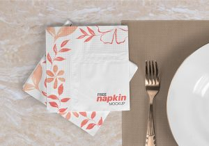 Napkin On Table Free PSD Mockup