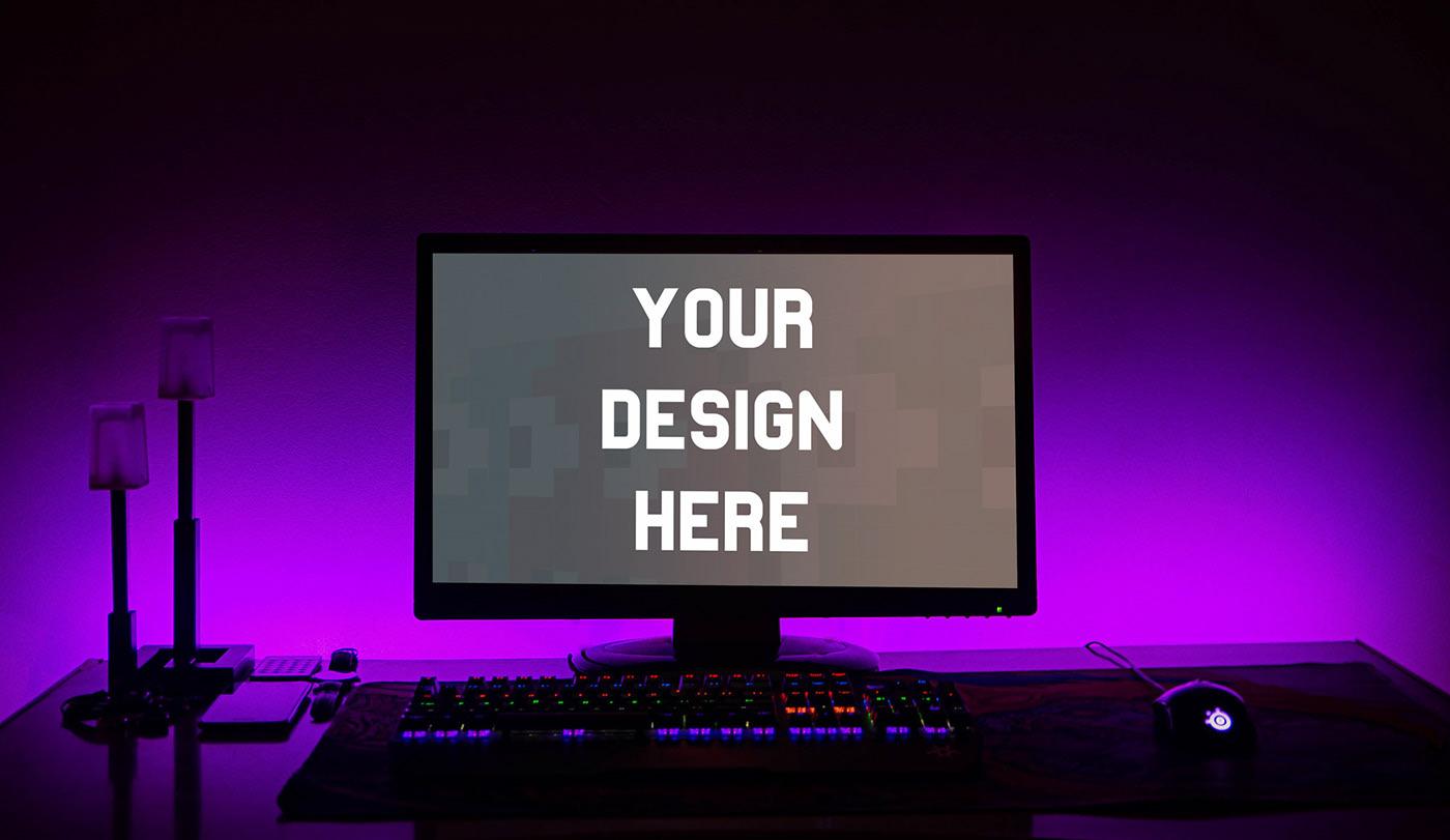 Night Time PC Screen - Free PSD Mockup