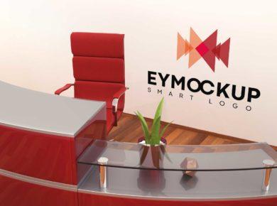 Office Wall Logo - Free PSD Mockup