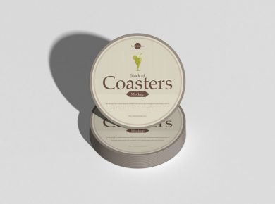 Stack of Coasters Free PSD Mockup