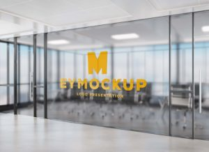 Transparent Office Wall Logo Free PSD Mockup