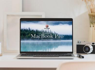 Workstation MacBook Pro Free PSD Mockup