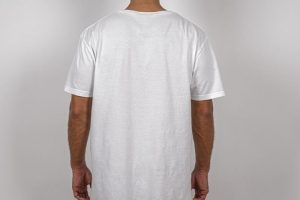 Backside of a Man Wearing T- Shirt Free PSD Mockup