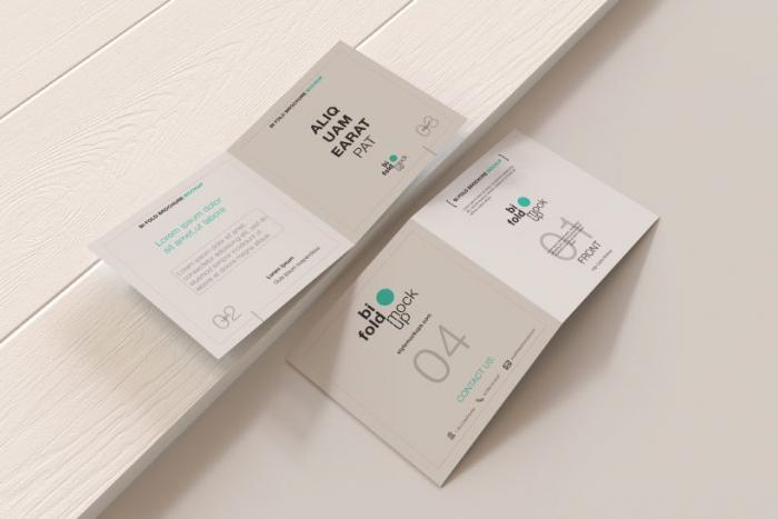 Bi-Fold Square Brochure Free PSD Mockup