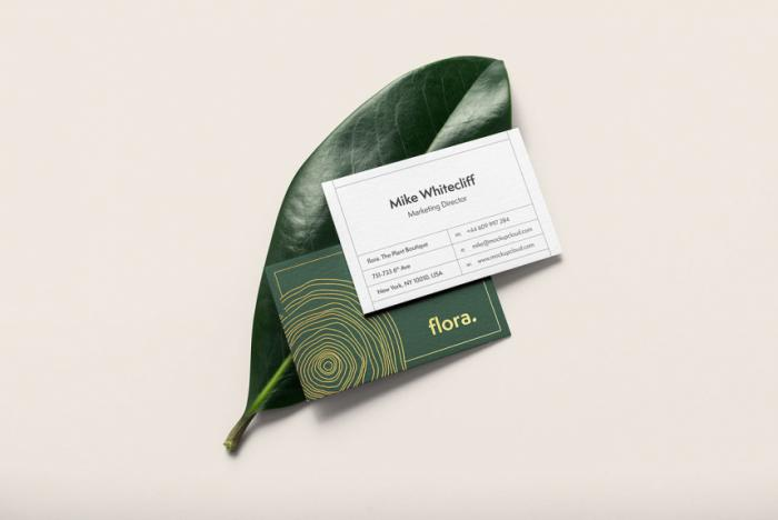 Free Business Card On Leaf Mockup