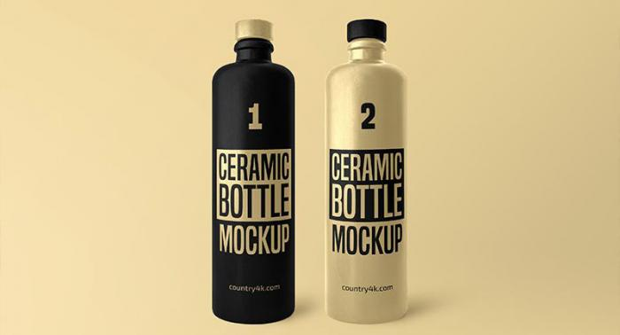 Free Ceramic Bottle Mockup