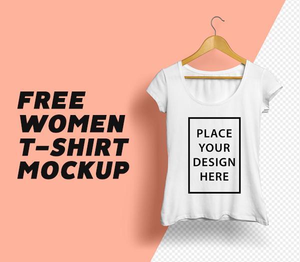 Free Modern Women T-Shirt Mockup
