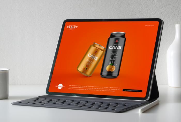 Keyboard & Tablet Free PSD Mockup