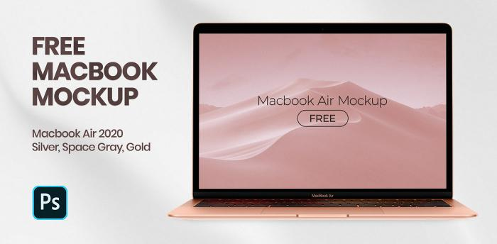 MacBook Air 2020 Free PSD Mockup