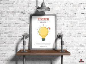Poster Frame on Seamless Wood Free PSD Mockup