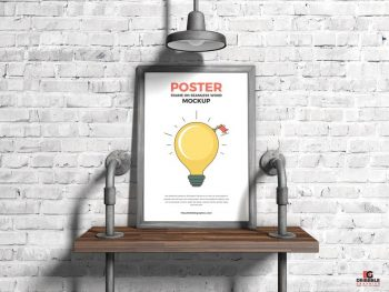 Poster Frame on Seamless Wood Free PSD Mockup