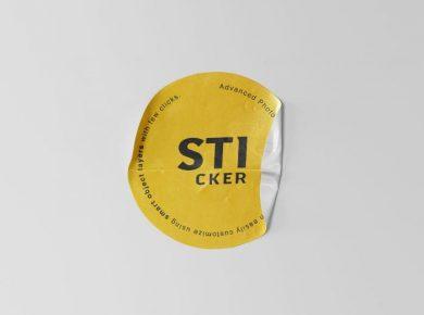 Round Sticker Free PSD Mockup