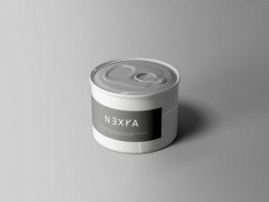 Small Food Tin Can Free PSD Mockup