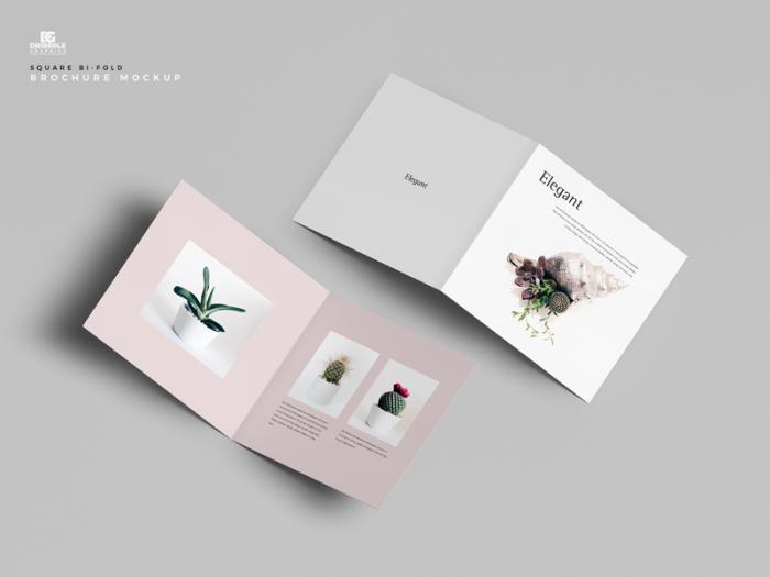 Square Bi-Fold Brochure Free PSD Mockup