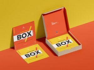 Square Cards & Box Mockup Free PSD Template