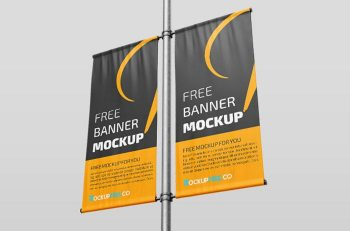 Street Lamp Banner Free PSD Mockup