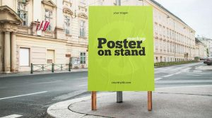 Street Poster On Stand Free PSD Mockup