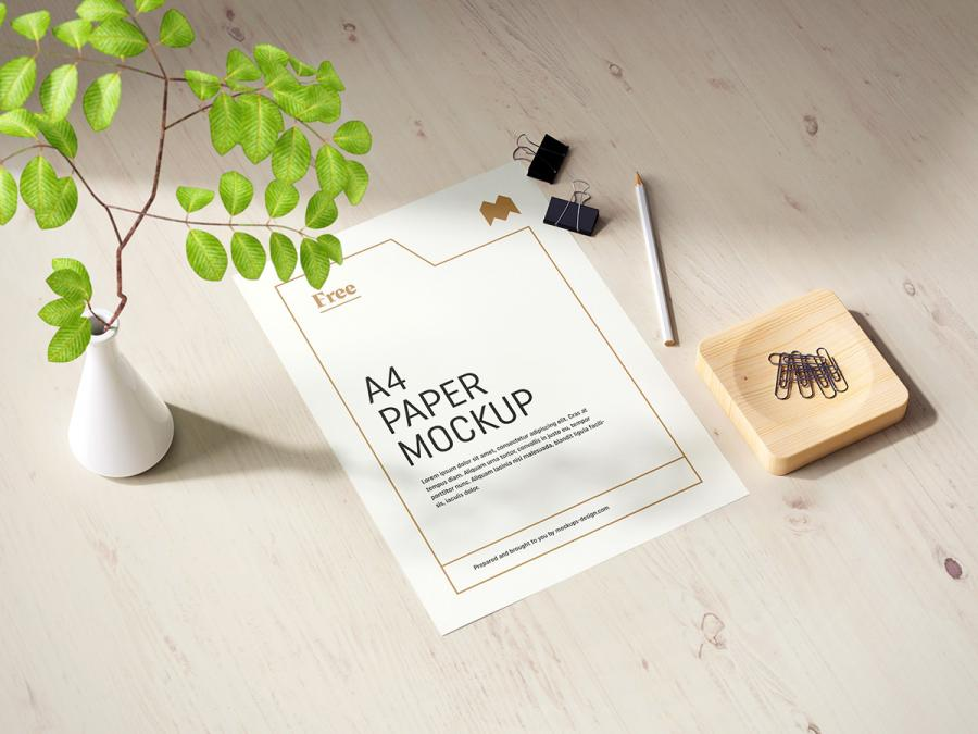A4 Paper Horizontal & Vertical Free Mockup